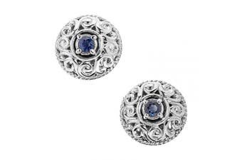 (September - Sapphire) - Carolyn Pollack Sterling Silver Genuine Gemstone Birthstone Button Earrings