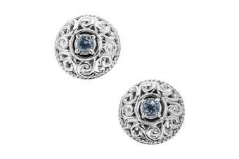 (March - Aquamarine) - Carolyn Pollack Sterling Silver Genuine Gemstone Birthstone Button Earrings