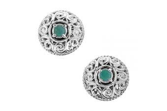 (May - Emerald) - Carolyn Pollack Sterling Silver Genuine Gemstone Birthstone Button Earrings