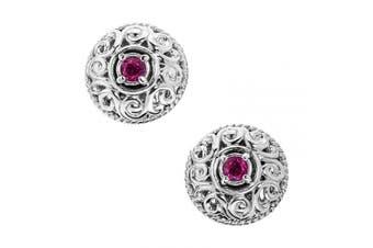 (October - Tourmaline) - Carolyn Pollack Sterling Silver Genuine Gemstone Birthstone Button Earrings