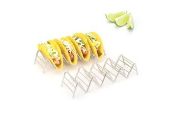 (Stainless Steel, Holds 4 or 5 Tacos) - 0.9kg Depot Taco Holder, Taco Stand, Taco Rack, Premium 18/8 Stainless Steel, Taco Holders Hold 4 or 5 Tacos, Set of 2
