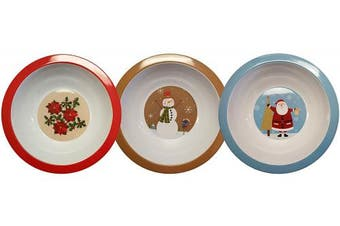 (3) - Set of 3 Holiday Christmas Melamine 30cm Serving Bowls! Snowman, Holly, Santa! BPA FREE (3)