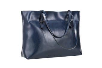 (Blue) - S-ZONE Women's Vintage Genuine Leather Tote Shoulder Bag Handbag
