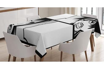 (130cm  W By 180cm  L, Multi 12) - Anime Tablecloth Decor by Ambesonne, Japanese Comics Strip with Boy and Girl Fight Scene Manga Image Cartoon Print, Dining Room Kitchen Rectangular Table Cover, 52W X 70L Inches, Black White Grey