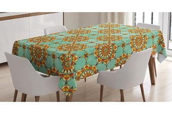 (150cm  W By 210cm  L, Multi 12) - Moroccan Tablecloth Decor by Ambesonne, Ornamental Abstract Moroccan Motif with Old Fashion Victorian Influences Artwork, Dining Room Kitchen Rectangular Table Cover, 60W X 84L Inches, Mint Orange