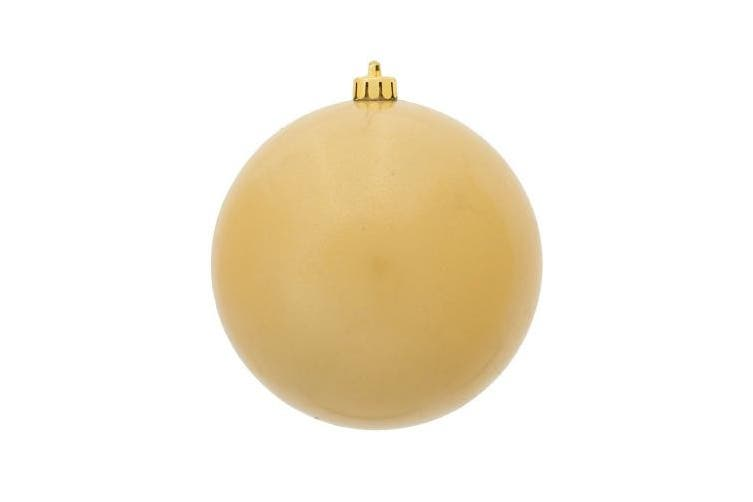 (Candy, Champagne) - Vickerman Candy Finish Seamless Shatterproof Christmas Ball Ornament, UV Resistant with Drilled Cap, 6 per Bag, 10cm , Champagne