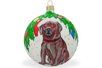 10cm Chocolate Labrador Lab Dog Glass Ball Christmas Animal Ornament