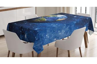 (150cm  W By 230cm  L, Multi 13) - Space Tablecloth Decor by Ambesonne, Outer View of Planet Earth in Solar System with Stars Life on Globe Themed Image, Dining Room Kitchen Rectangular Table Cover, 60W X 90L Inches, Blue Green