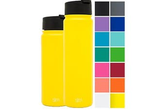 (650ml, Sunshine Yellow) - Simple Modern Vacuum Insulated Stainless Steel Water Bottle - Summit Wide Mouth Coffee Tea Thermos - Double Walled Flask - Powder Coated Hydro Canteen