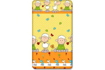 (Sheep yellow) - 100% COTTON FITTED SHEET WITH PRINTED DESIGN FOR BABY JUNIOR BED 160x70CM (Sheep yellow)