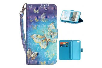 (iPhone 5/5s/SE, Butterfly Golden) - iPhone 5s Case, iPhone SE Wallet Case, Moon mood® 3D Bling Rhinestones Butterfly Flower Animal Pattern PU Leather Flip Wallet Stand Phone Case Cover for iPhone 5/5S/5G/SE