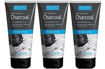 3 x 150ml Beauty Formulas with Activated Charcoal Facial Scrub