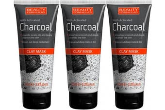 3 x 100ml Beauty Formulas with Activated Charcoal Clay Mask