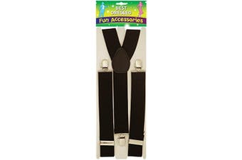 (Black) - White Men Ladies Heavy Duty Adjustable Suspended Elastic Wide Trouser Braces