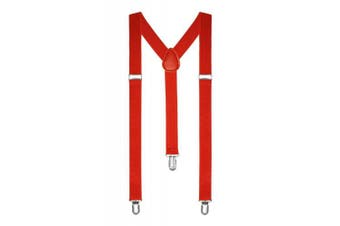 (Red) - Red Men Ladies Heavy Duty Adjustable Suspended Elastic Wide Trouser Braces (RED)