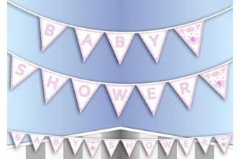 Baby Shower Bunting PINK Banner Garland Birthday Party Hanging Decoration Shower Celebration Girl Elephant Cute