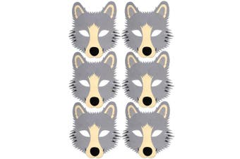 6 Grey Wolf Foam Children's Face Masks - Made by Blue Frog Toys