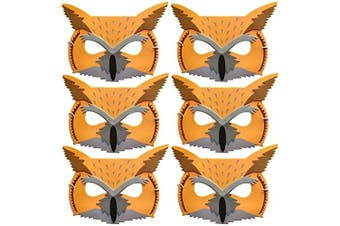 6 Foam Long Eared Owl Childrens Animal Face Masks - Made by Blue Frog Toys