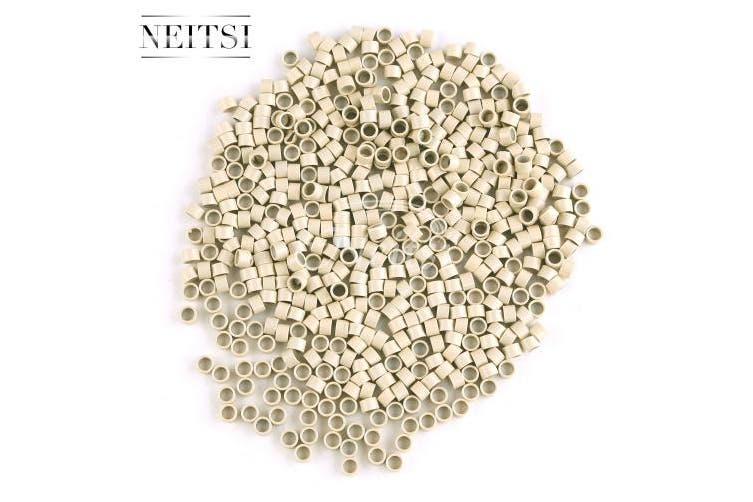 (500pcs, Blonde) - Neitsi 4mm3mm Silicone Lined Micro Rings Links Beads Linkies for I Bonded Tipped Hair Extensions 4527 (500pcs, Blonde)