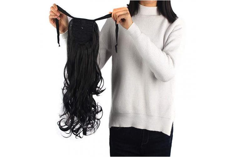 (18 -Inch Wavy, natural black-Wavy) - Haironline One Piece Tie Up Ponytail Clip in Hair Extensions Hairpiece Binding Pony Tail Extension for Girl Lady Woman natural black