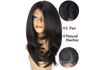 (Black) - Lace Front Wigs Yaki Straight Synthetic Wigs for Women Black Colour