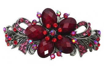 Gorgeous Barrette with Beads and Crystals U86012-0052red