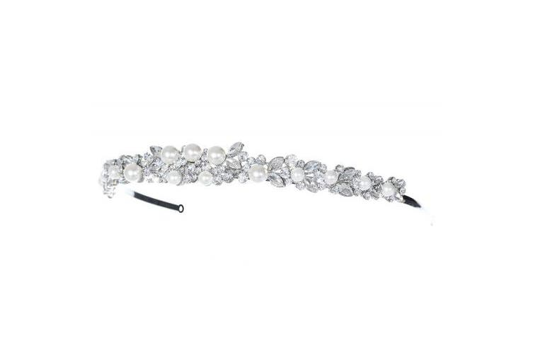 Faux Pearl Floral Flower Crystal Headband Bridal Tiara T1040