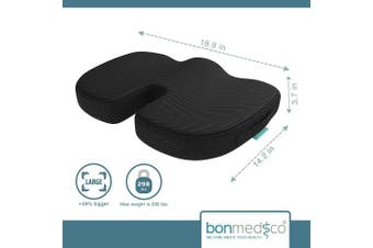 (Standard, Black) - 2017 bonmedico® Orthopaedic Seat Cushion, Pain Reducing Pillow, Recommended Up To 80kg Weight In Black