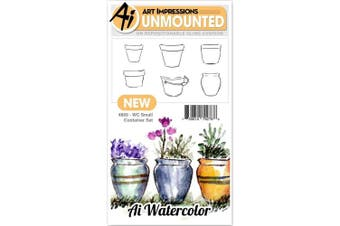 Art Impressions - Watercolour Cling Rubber Stamp - Small Container
