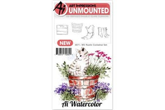Art Impressions - Watercolour Cling Rubber Stamp - Rustic Container