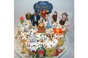 Disney Beauty and the Beast Deluxe Mini Cake Toppers Cupcake Decorations Set of 14 with Figures, a Sticker Sheet and ToyRing Featuring Belle, the Prince Beast, Chip and More!