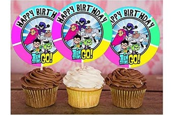 12 Happy Birthday TEEN TITANS GO Inspired Party Picks, Cupcake Picks, Cupcake Toppers