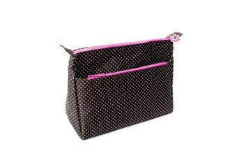 (black dotted) - Versatile Travel Makeup Bag - Large Cosmetic Pouch - Travel Organiser For Your Cosmetics