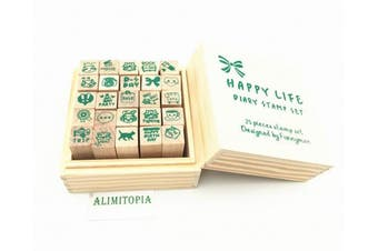 (Happy lives(25pcs)) - Diary Stamp Set,Wooden Rubber Signet for Children DIY Scrapbooking Card Making(25pcs,Happy Life)