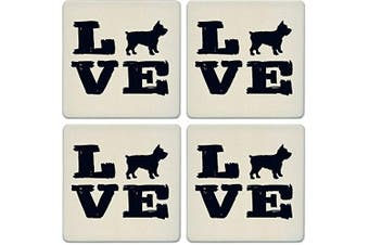 CoasterStone Absorbent Coasters, Pet Love Yorkie (Set of 4), 10cm - 0.6cm , Multicolor