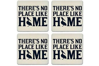 CoasterStone Absorbent Coasters, No Place Like Home Pelican (Set of 4), 10cm - 0.6cm , Multicolor