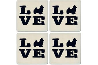 CoasterStone Absorbent Coasters, Pet Love Maltese (Set of 4), 10cm - 0.6cm , Multicolor