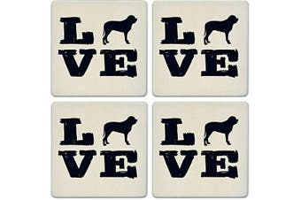 CoasterStone Absorbent Coasters, Pet Love Mastiff (Set of 4), 10cm - 0.6cm , Multicolor