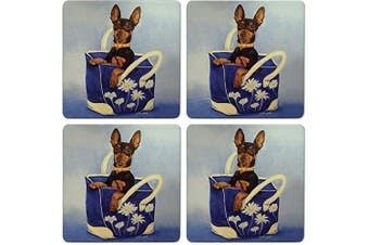 CoasterStone Absorbent Coasters, Mini Pinscher Dog (Set of 4), 10cm - 0.6cm , Multicolor