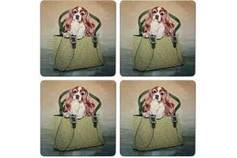 CoasterStone Absorbent Coasters, Cavalier Dog (Set of 4), 10cm - 0.6cm , Multicolor