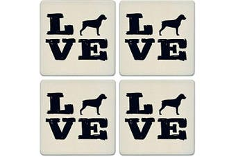 CoasterStone Absorbent Coasters, Pet Love Rottweiler (Set of 4), 10cm - 0.6cm , Multicolor