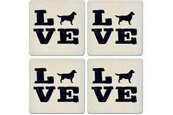 CoasterStone Absorbent Coasters, Pet Love Retriever (Set of 4), 10cm - 0.6cm , Multicolor