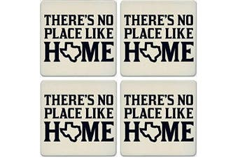 CoasterStone Absorbent Coasters, No Place Like Home Texas (Set of 4), 10cm - 0.6cm , Multicolor