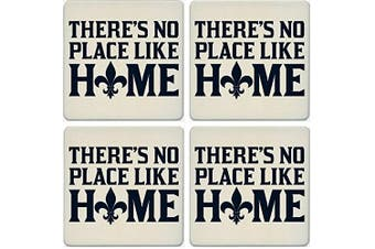 CoasterStone Absorbent Coasters, No Place Like Home Fleur de Lis (Set of 4), 10cm - 0.6cm , Multicolor