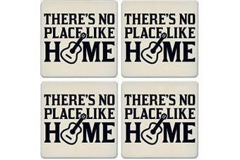 CoasterStone Absorbent Coasters, No Place Like Home Guitar (Set of 4), 10cm - 0.6cm , Multicolor