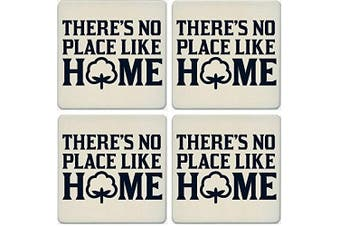 CoasterStone Absorbent Coasters, No Place Like Home Cotton (Set of 4), 10cm - 0.6cm , Multicolor