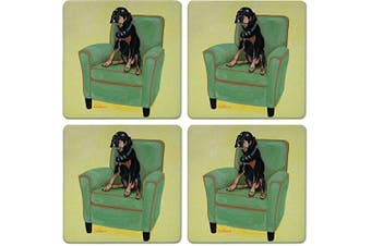 CoasterStone Absorbent Coasters, Doberman Dog (Set of 4), 10cm - 0.6cm , Multicolor