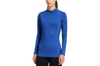 (X-Small, Blue) - BALEAF Women's Fleece Thermal Mock Neck Long Sleeve Running Shirt Workout Tops