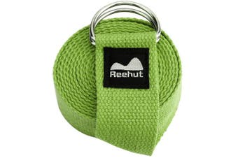 (2.4m, Army Green) - REEHUT Yoga Strap (1.8m, 2.4m, 3m) w/Adjustable D-Ring Buckle - Durable Polyester Cotton Exercise Straps for Stretching, General Fitness, Flexibility and Physical Therapy