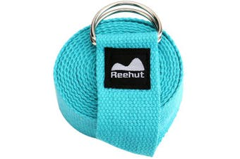 (1.8m, Sky Blue) - REEHUT Yoga Strap (1.8m, 2.4m, 3m) with Ebook - Durable Polyester Cotton Exercise Straps w/Adjustable D-Ring Buckle for Stretching, General Fitness, Flexibility and Physical Therapy